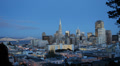 Illuminated Dusk Panoramic View Downtown San Francisco Skyline Office Skyscraper Footage