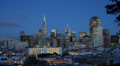 Dusk Light Business Center in San Francisco Cityscape Colorful Houses Roofs USA Footage