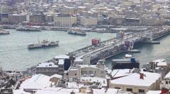 Eminonu Harbor in Winter Stock Footage