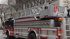 Fire Truck Engine Passing Chicago Water Tower Traffic Michigan Avenue Rush Hour Stock Footage