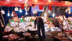 Strret market winter Stock Footage