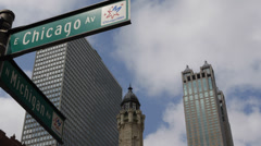 Michigan Avenue Street Sign Chicago Boulevard Office Tower Magnificent Mile USA Stock Footage