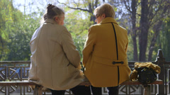 Senior women enjoy autumn day in the park Stock Footage