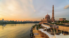 Timelapse Sunset Putra Mosque 720p Stock Footage