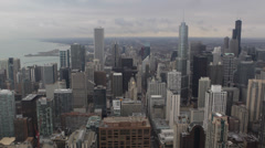Aerial View Skyline Cityscape Chicago Michigan Avenue Magnificent Mile Buildings Stock Footage