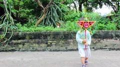 Boy playing lantern, star lamp, light fish in full moon festival Stock Footage