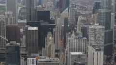Commuters Busy Car Traffic Road Aerial View Skyline Chicago Michigan Avenue Day - stock footage