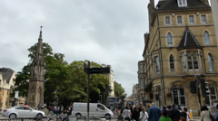A busy road near Martyrs' Memorial at Balliol College, Oxford, England Stock Footage
