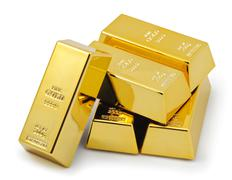Five gold bars Stock Photos