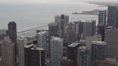 Great Lakes Shoreline Modern Skyscrapers Highrise Panorama Chicago Aerial View Stock Footage