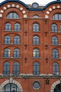 Old office building at the harbour in Antwerp Stock Photos