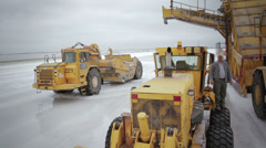 Heavy machinery in salt production Stock Footage