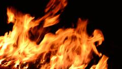 Large real fire burning at night Stock Footage
