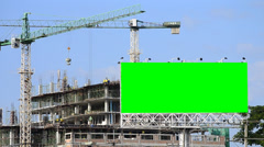 Construction site and big billboard green color Stock Footage