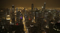 Illuminated Night Chicago Aerial View Skyline American Busy City Horizon Lights HD Footage