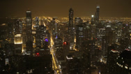 Stock Video Footage of Illuminated Night Chicago Aerial View Skyline American Busy City Horizon Lights