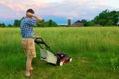 mowing job - stock photo