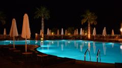 Swimming pool at the luxury hotel, halkidiki, greece Stock Footage