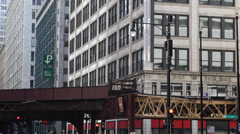 CTA El L Train Crossing near Modern Buildings Chicago Transit Authority Traffic Stock Footage