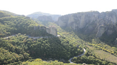 Panning of view from above on the rousannou - st. barbara monastery, meteora, Stock Footage