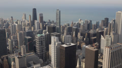 Trump Hotel Busy City Crowded Center Above Aerial view Downtown Chicago Skyline Stock Footage