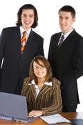 young smiling business team - stock photo