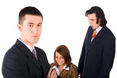 young businessman in difficult situation - stock photo