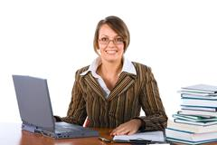 Young businesswoman with laptop Stock Photos