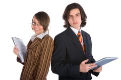 Young businesswoman and businessman Stock Photos