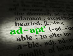 Dictionary - Adapt - Green On BG Stock Photos