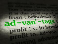 Dictionary - Advantage - Green On BG - stock photo