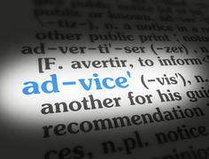 Dictionary - Advice - Blue On White - stock photo