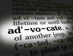 Dictionary - Advocate - Black On White Stock Photos