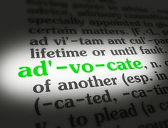 Dictionary - Advocate - Green On White Stock Photos