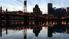 Portland Oregon Downtown City Skyline with Hawthorne Bridge Water Reflection Stock Footage