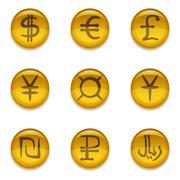 Buttons with currency signs, set - stock illustration