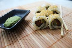 Salmon Avocado Roll Sushi Stock Photos