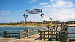 wustrow pier - stock photo