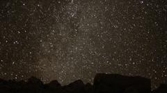 4K Perseids Meteor Shower 2010 01 Milky Way Timelapse Mojave Desert California - stock footage