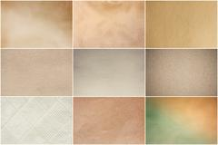 Old vintage beige papers texture set background Stock Photos