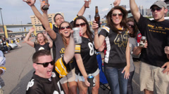 Steelers Fans Tailgate 3414 Stock Footage