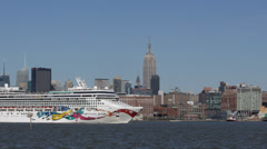 Manhattan Skyline Empire State Building Hudson River New York City Cruise Ship Stock Footage