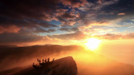 Stock Video Footage of sunrise in the mountains Ai-Petri. Alupka, Crimea, Ukraine. FULL HD