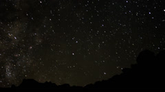 4K Perseids Meteor Shower 2010 04 Tilt Up Milky Way Timelapse Mojave Desert - stock footage