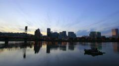 Portland Oregon Downtown City Skyline along Willamette River at Blue Hour Stock Footage