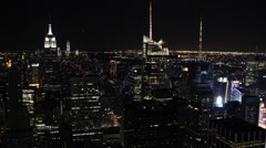 Evening Lit Aerial View New York City Manhattan Cityscape Financial District  Stock Footage