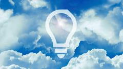 Idea light bulbs on the blue sky. Concept. - stock footage