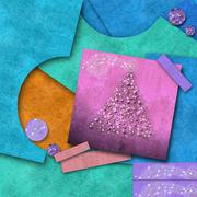 Cute christmas background, scrap papers Stock Illustration