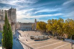 square at pope's palace, avignon, hdr image - stock photo
