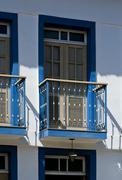 detail of balcony, conservatória, rj, brazil - stock photo